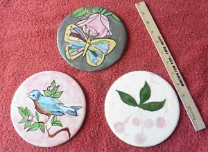 3 Vintage Wheeling Ceramic Trivets Hand Painted Butterfly Rose Blue bird Cherry