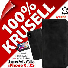 Krusell Sunne GENUINE LEATHER Wallet Stand Flip Case Cover for Apple iPhone X XS