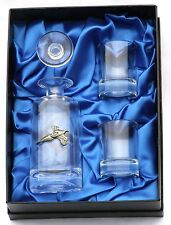 Pheasant Style Crystal Glass Miniture Decanter 2 Shot Glasses Gift Set
