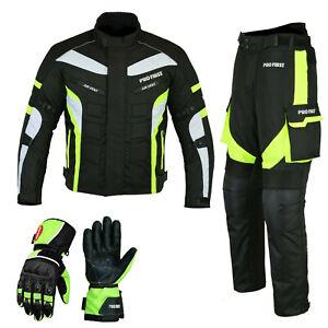 Motorcycle Suit Motorbike Racing Cordura Textile Jacket Trouser & Leather Gloves