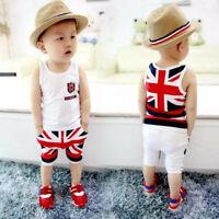 Toddler Kids Baby Girls Boys Summer Sleeveless Vest Tops Short Pants Outfits Set