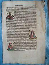 PAGE CHRONIQUE DE NUREMBERG avec invention de l'imprimerie, 1493.