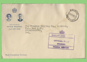 Swaziland 1950 OHMS cover from Financial Secretary to South Africa