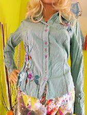BIBA Damen ausgefallene  Bluse Streife  Aqua Gr36