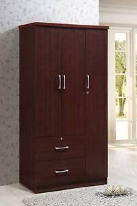 3-Door Armoire w/ 2-Drawers Garment Rod Bedroom Wardrobe Closet Storage Cabinet