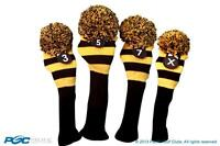 3 5 7 X Classic BLACK YELLOW KNIT POM golf club Headcover Head covers full Set