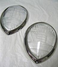 1937 - 1939 Ford Standard Fluted Headlight Lenses + Stainless Steel Ring Combo