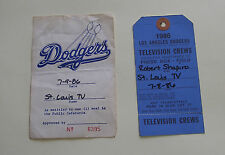 L.A. Dodgers vs St. Louis Cardinals 1986 TV Crew Press Box Field Pass + Meal Tix