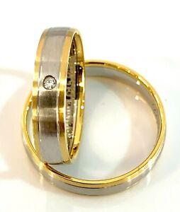 Trauringe Eheringe Bicolor Trauringpaar Diamant Gold 585 oder 333