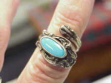 SOUTHWESTERN STERLING SILVER TURQUOISE SPOON RING SZ 6