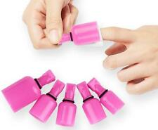 10x Stylish Nail Art Soak Off Cap Clip UV Gel Polish Remover Tool Hot Pink Wrap
