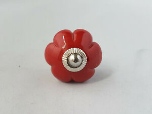 Hand crafted Ceramic Knobs drawer pulls cupboard door knobs in Red