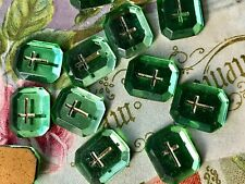 Vintage Cabochons Glass Gold Cross Religious Christian Germany Peridot NOS #989