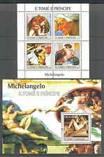 PAINTINGS BY MICHELANGELO, JUDAICA, SISTINE CHAPEL  ST TOME & PRINCIPE 2004, MNH