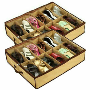 Pack of 2 Foldable Shoe Storage Organizer Holder Container Under Bed Closet Case