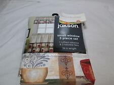 Jakson 3 pcs Window Set FRENCH ROAST ~ 1 Valance & 2 Tiers ~ Chocolate, Red, Tan