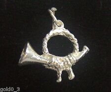 Hunting Horn Charm Sterling silver 925 charmmakers 3D