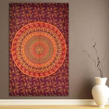 Kamel Kastanienbraun Mandala Twin Überwurf Wandbehang Baumwolle Yoga Deko Tuch