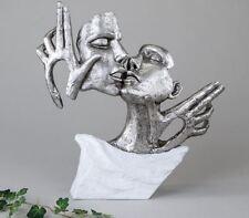 720429 sculpture objet de décoration Masques 36cm blanc argent sur socle en