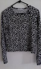 Quirky Circus white leopard print top with grey and black spots size 8