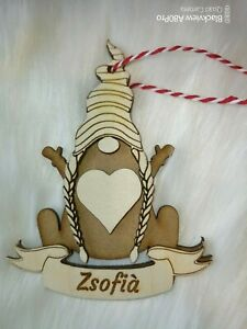 Personalised female Scandinavian Gnome Christmas Bauble Xmas Tree Decoration Elf