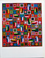 Victor Vasarely Hyram-Prism Poster of Objects Dancing in Light/Dark Colors 14x11