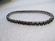 "Amethyst Rhinestone Stretch Bracelet, 7"", titanium colored metal, 4.3mm wide"