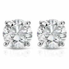 1/3 Ct Round Cut Natural Diamond Stud Earrings Silver White G-M Certified
