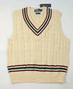 New Polo Ralph Lauren Men's Iconic Cricket Sweater Cable-Knit Pima Cotton Vest