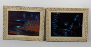 Mid-Century Pair Of Asian Scene Paintings On Velvet Blue And Orange 1960's