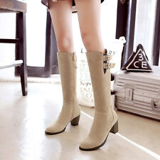Ladies Womens Faux Suede Zip Mid Heel Knee High Boots Shoes UK Size 1.5--10 B329