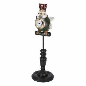 Estatuilla De Pajarito Con Reloj En Pico Relojes de Mesa Apoyo Vintage