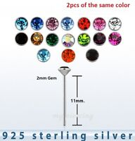 2pcs.of color  22g ~ 2mm Round Flat C.Z. .925 Sterling Silver Straight Nose Stud