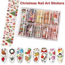 Christmas Nail Art Sticker 10 Rolls Foil Transfer Glitter DIY Nail Decoration