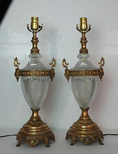 Pair Vintage Crystal Glass & Brass Table Lamps West Germany