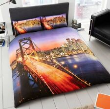 DOUBLE REVERSIBILE SAN FRANCISCO GOLDEN GATE BRIDGE 3D COPRIPIUMINO CON CUSCINO CA