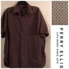 Perry Ellis Red Geometric Squares Ss Mens Xl Classic Casual Shirt Vintage 80s