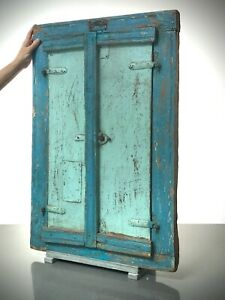 ANTIQUE VINTAGE INDIAN SHUTTERED WINDOW MIRROR. VINTAGE. TURQUOISE, BABY BLUE.
