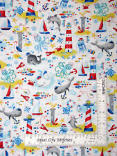 Nautical Whale Sail Boat Crab Cotton Fabric Timeless Treasures C7262 29