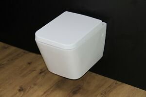 Toilet WC Wall Hung Mounted Cloakroom Small Soft Close Seat Rimless Square WH54