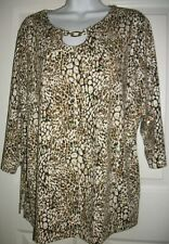 Cathy Daniels Women's Brown & Gold Glitter 3/4 Sleeves Blouse Shirt Top Size 1X