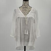 Monoreno Blouse Size Small Tunic White Embroidered Boho Top