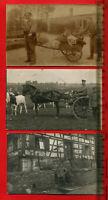 3 x Foto AK, 1. WK, Matrosen Marinekorps mit Karren, Offizier mit Wagen ( 63975