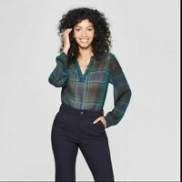 A New Day Women's Long Sleeve Plaid Popover Blouse Navy Small