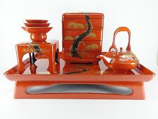Japanese antique vintage Makie red lacquer wood Toso Sake banquet set chacha