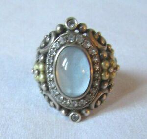 Barbara Bixby Sterling Silver & 18K Blue Topaz Cabochon Shangri-La Ring Size 8