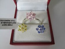 GENUINE STERLING SILVER 3 FLOWER INTERCHANGABLE RING SIZE L