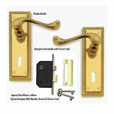 Brass Finish Georgian Lever Lock Door Handles Keyhole 145 x 48mm & 3 Lever Lock