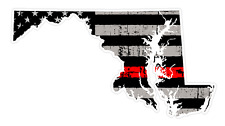 Maryland State (C21) Thin Red Line Vinyl Decal Sticker Car/Truck Laptop/Netbook