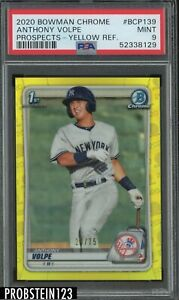 2020 Bowman Chrome Yellow Refractor Anthony Volpe RC Rookie 20/75 PSA 9 MINT